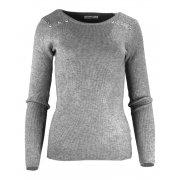 Miękki sweter DAMSKI z dżetami- jasnoszary