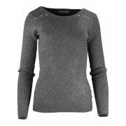 Miękki sweter DAMSKI z dżetami- ciemnoszary