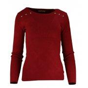 Miękki sweter DAMSKI z dżetami- bordowy