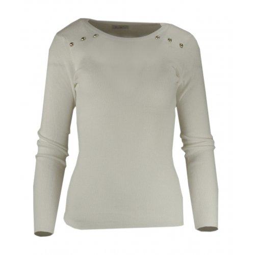 Miękki sweter DAMSKI z dżetami- kremowy