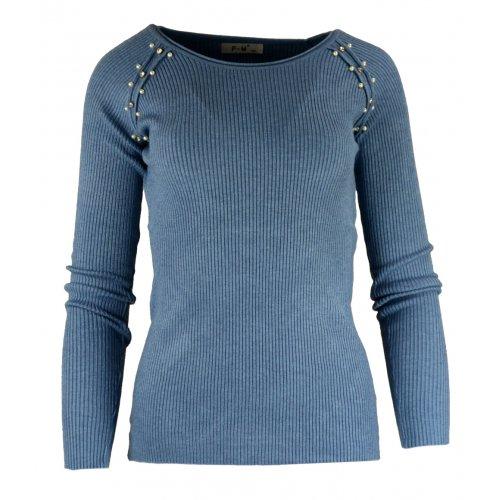 Miękki sweter DAMSKI z perłami- niebieski