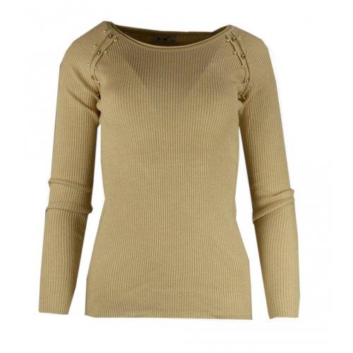 Miękki sweter DAMSKI z perłami- beżowy
