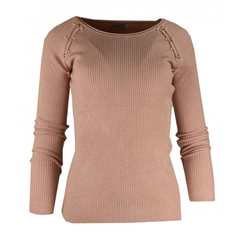 Miękki sweter DAMSKI z perłami- różowy