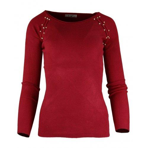 Miękki sweter DAMSKI z perłami- bordowy