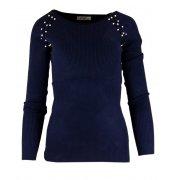 Miękki sweter DAMSKI z perłami- granatowy
