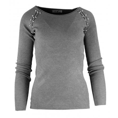 Miękki sweter DAMSKI z perłami- jasnoszary