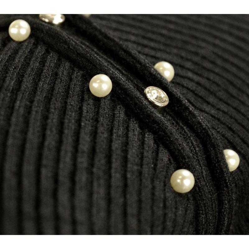 Miękki sweter DAMSKI z perłami- czarny