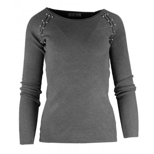 Szary sweter DAMSKI z perełkami -