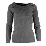 Miękki sweter DAMSKI z perłami- ciemnoszary