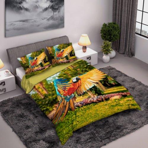 Ekskluzywna Pościel Bawełniana Perkal 160x200 PAPUGA Pościel dla dzieci dżungla Poście 3D Papugi