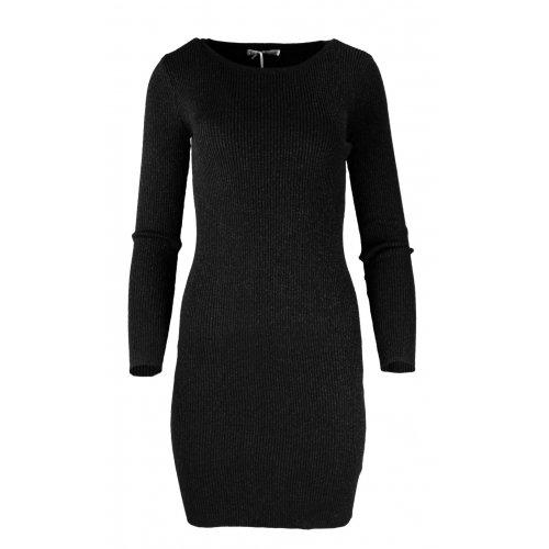 Rozciągliwa sukienka z prążkowanej dzianiny z połyskiem - czarna
