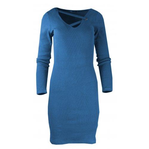 Rozciągliwa sukienka z prążkowanej dzianiny - niebieski