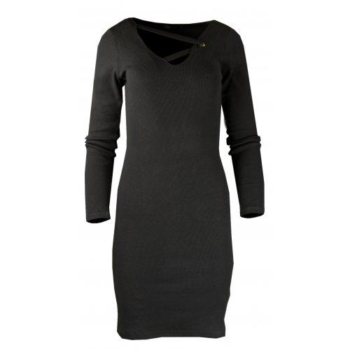 Rozciągliwa sukienka z prążkowanej dzianiny - czarna