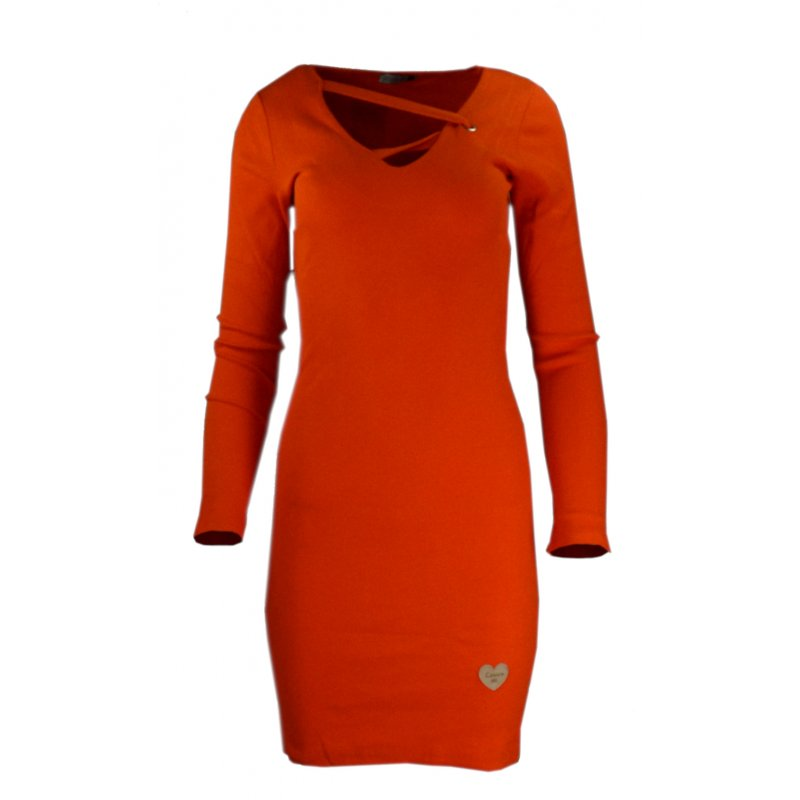 Rozciągliwa sukienka z prążkowanej dzianiny - pomarańczowa