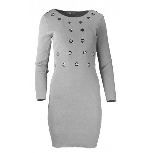 Rozciągliwa sukienka z ozdobnymi kółkami- szara