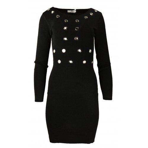 Rozciągliwa sukienka z ozdobnymi kółkami - czarna