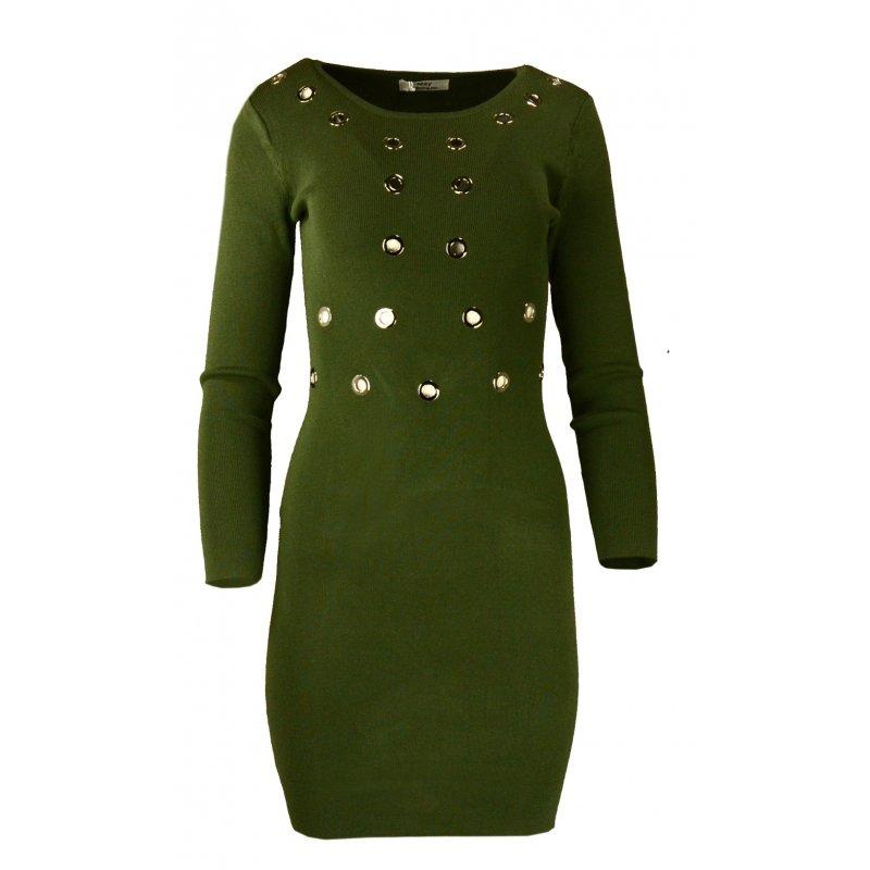 Rozciągliwa sukienka z ozdobnymi kółkami- zielona