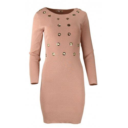 Rozciągliwa sukienka z ozdobnymi kółkami - różowa