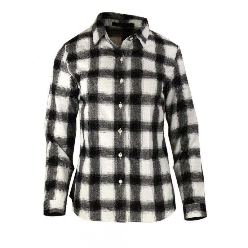 Męska koszula flanelowa biało czarna krata