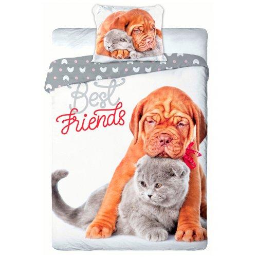 Pościel 3D Zwierzęta 160x200 PIES i KOT Best Friends 013