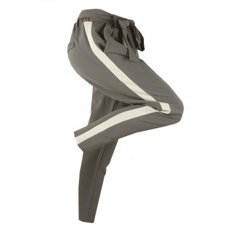 Włoskie spodnie CYGARETKI z lampasem (szare)