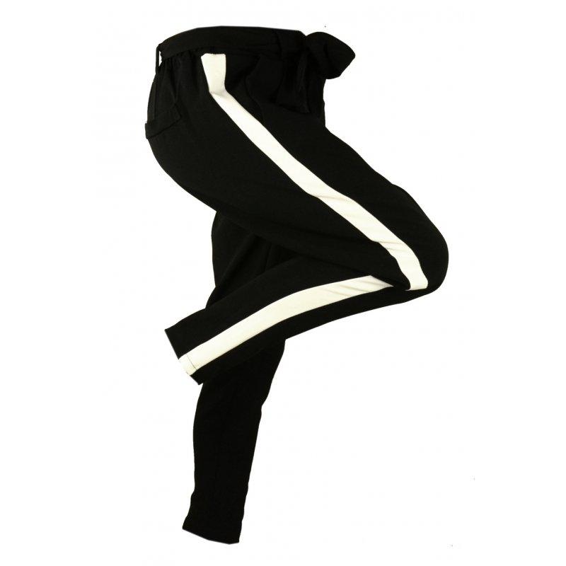 Włoskie spodnie CYGARETKI z lampasem (czarne)