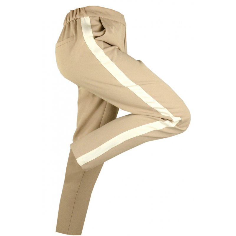 Damskie spodnie CYGARETKI z lampasem (beżowe)