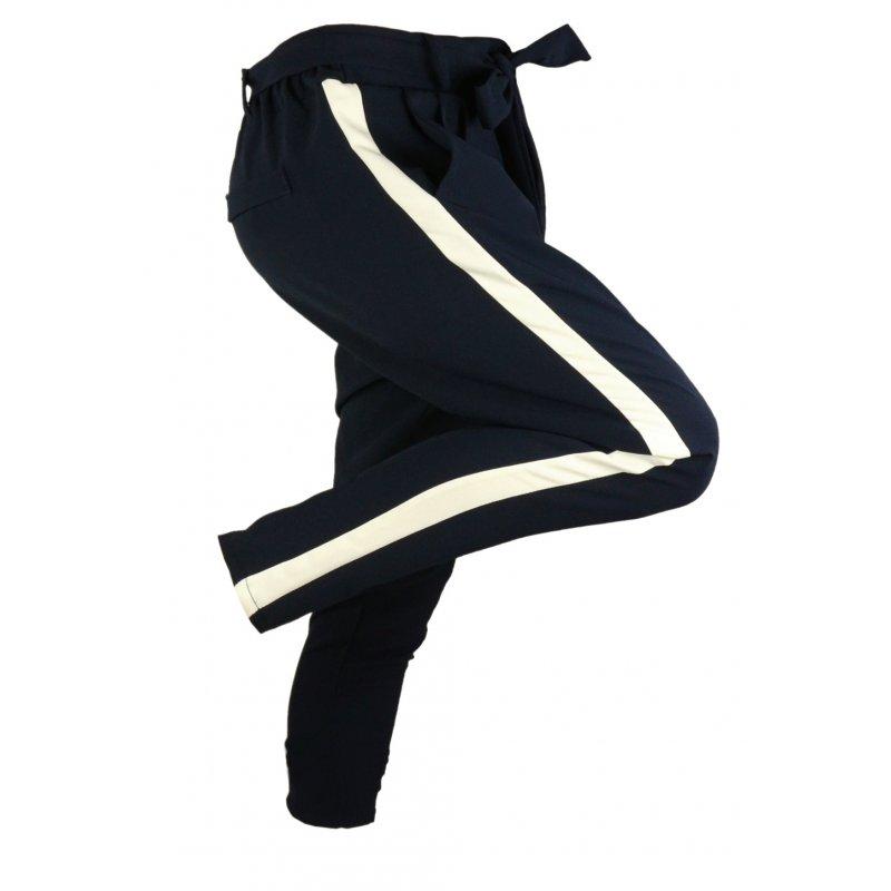 Włoskie spodnie CYGARETKI z lampasem (granat)
