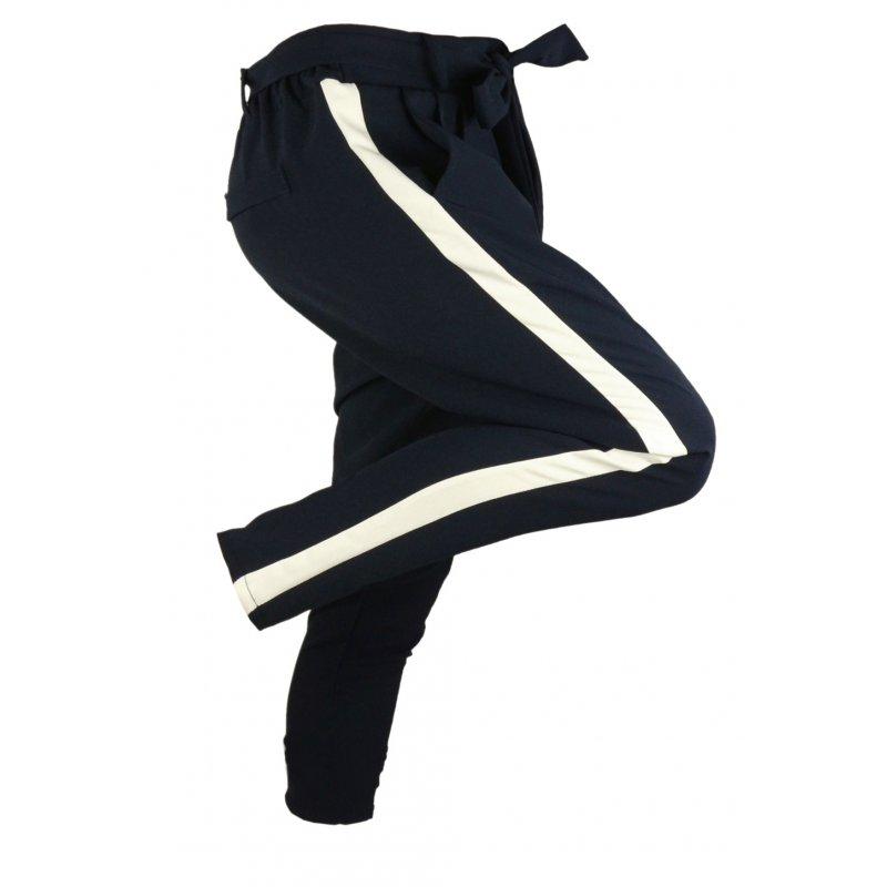 Włoskie spodnie CYGARETKI z lampasem (grafit)