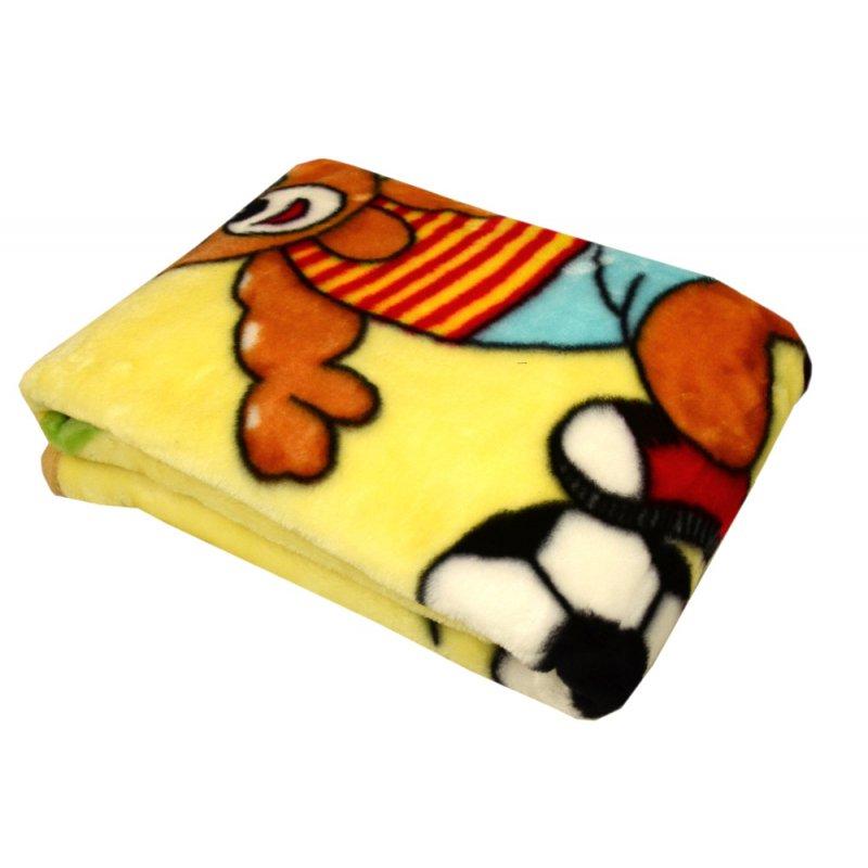 Żółty Kocyk DZIECIĘCY akrylowy MIŚ Z PIŁKĄ- 80x110 Koc dla Dzieci Kocyk dla Dzieci Kocyk do Łóżeczka Koc Dziecięcy Niemowlęcy