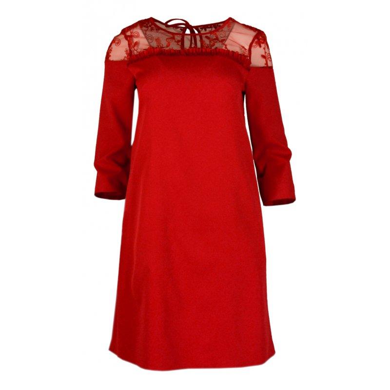 Sukienka TRAPEZOWA z koronką IMPRESS- czerwona