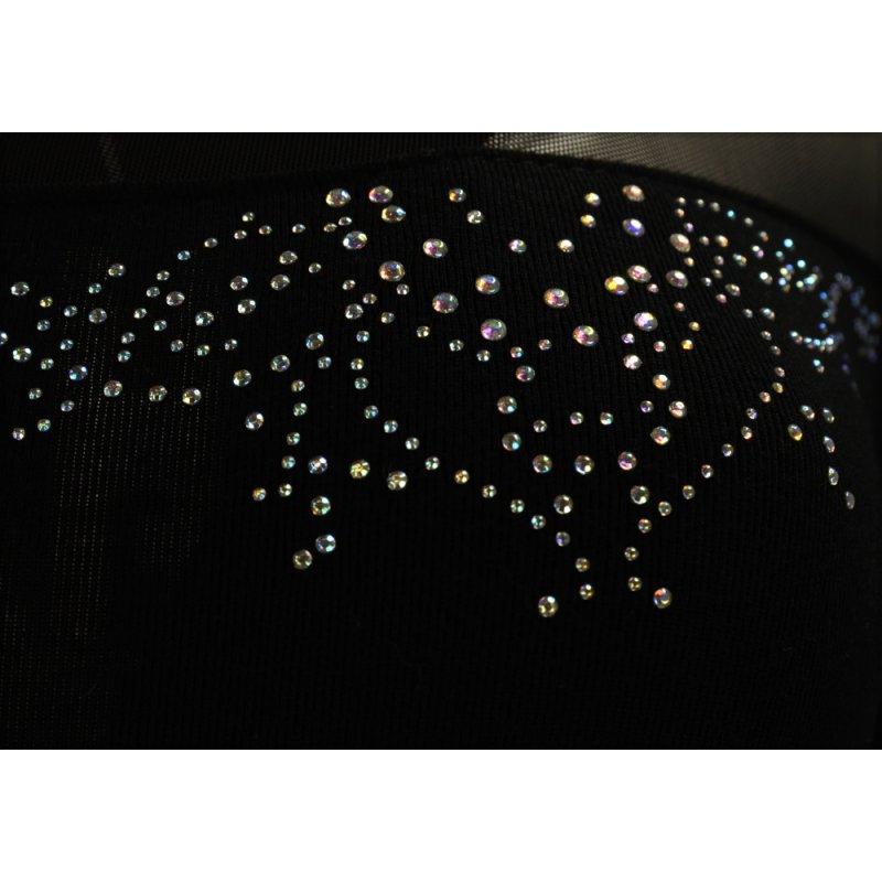 Seksowna sukienka z rozciągliwej dzianiny z siateczką- czarna
