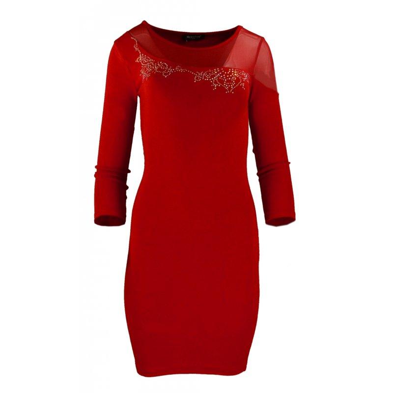Seksowna sukienka z rozciągliwej dzianiny z siateczką- czerwona
