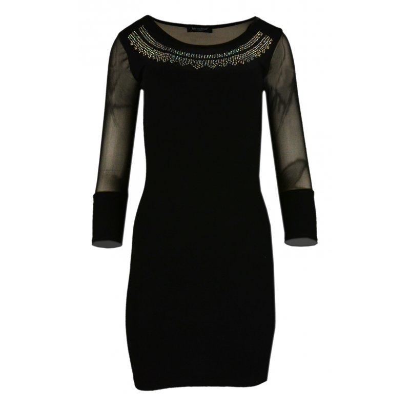 Obcisła sukienka z rozciągliwej dzianiny z siateczką- czarna