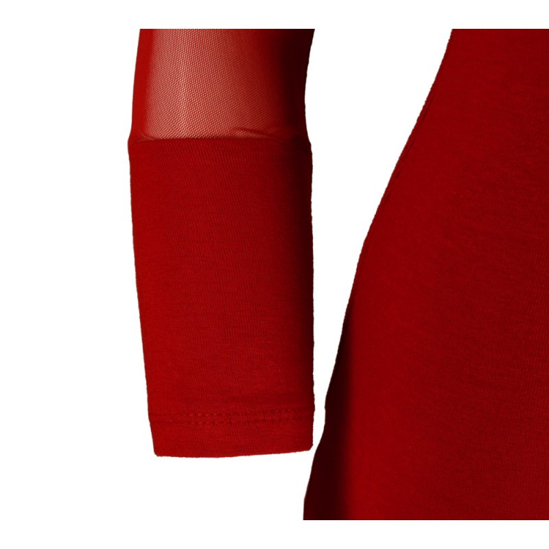 Obcisła sukienka z rozciągliwej dzianiny z siateczką- czerwona