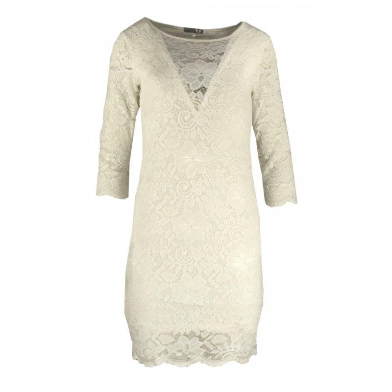 Cudowna Koronkowa sukienka ołówkowa z dekoltem V - kremowa | eStilex.pl PN75