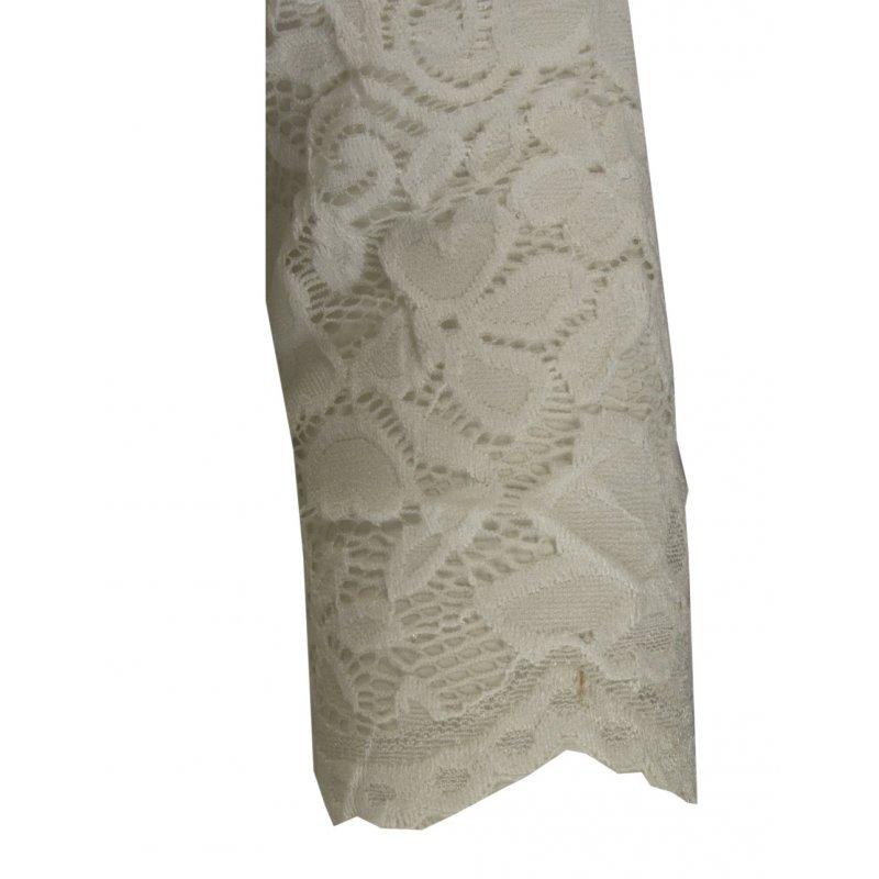 Koronkowa sukienka ołówkowa z dekoltem V - kremowa