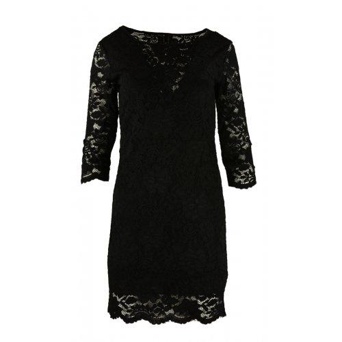 Koronkowa sukienka ołówkowa z dekoltem V - czarna