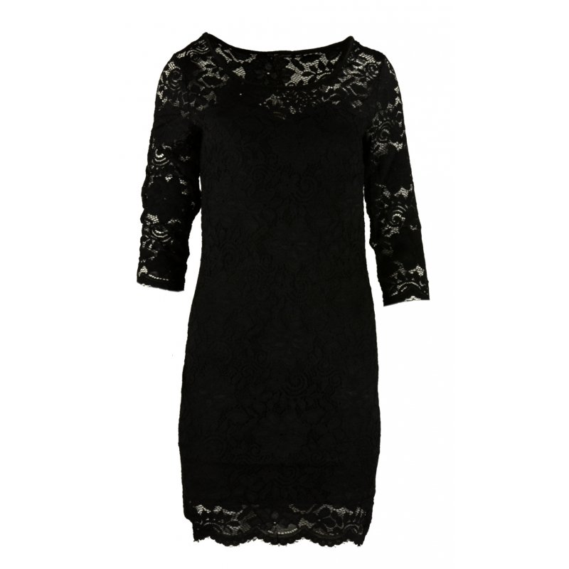 Koronkowa sukienka ołówkowa z dekoltem SERCE - czarna