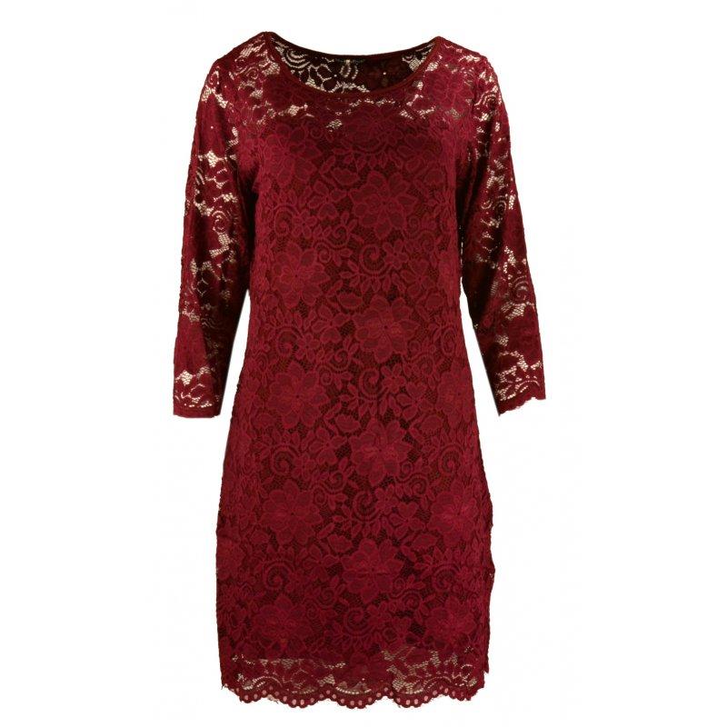 Koronkowa sukienka ołówkowa DUŻY ROZMIAR - bordowa