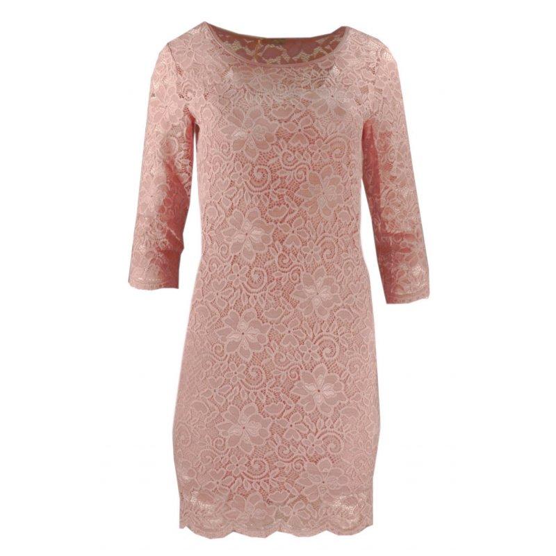 Koronkowa sukienka ołówkowa z dekoltem SERCE - pudrowy róż
