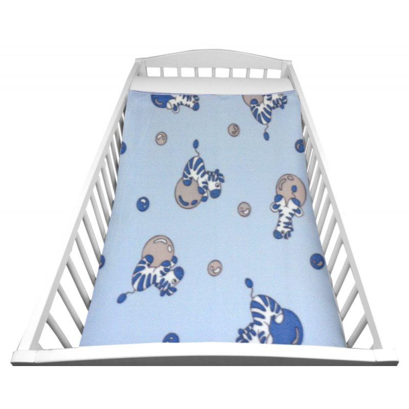 Niebieski Kocyk DZIECIĘCY polarowy 80x90 SZARE ZEBRY NA PIŁCE Kocyk Dziecięcy Kocyk Niemowlęcy Kocyk dla Niemowlaka Kocyk dla Dz