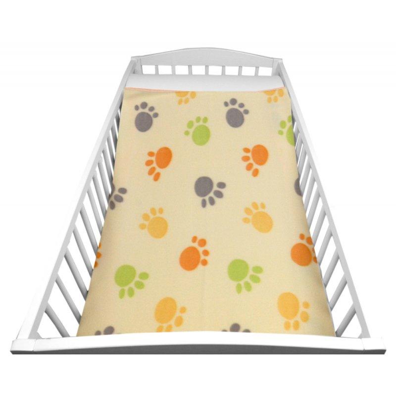 Jasny Kocyk DZIECIĘCY polarowy 80x90 PSIE ŁAPKI Kocyk Dziecięcy Kocyk Niemowlęcy Kocyk dla Niemowlaka Kocyk dla Dziecka do Łóżec