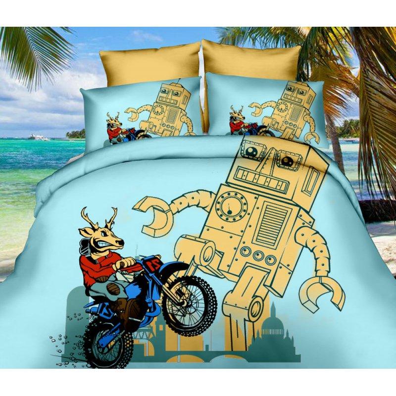 Pościel 3D dla dzieci 160x200 WZ. 9 Robot Pościel dla dzieci 4-elementowa Antyalergiczna