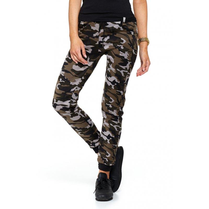 Spodnie damskie dresowe MORO elastyczne- brąz
