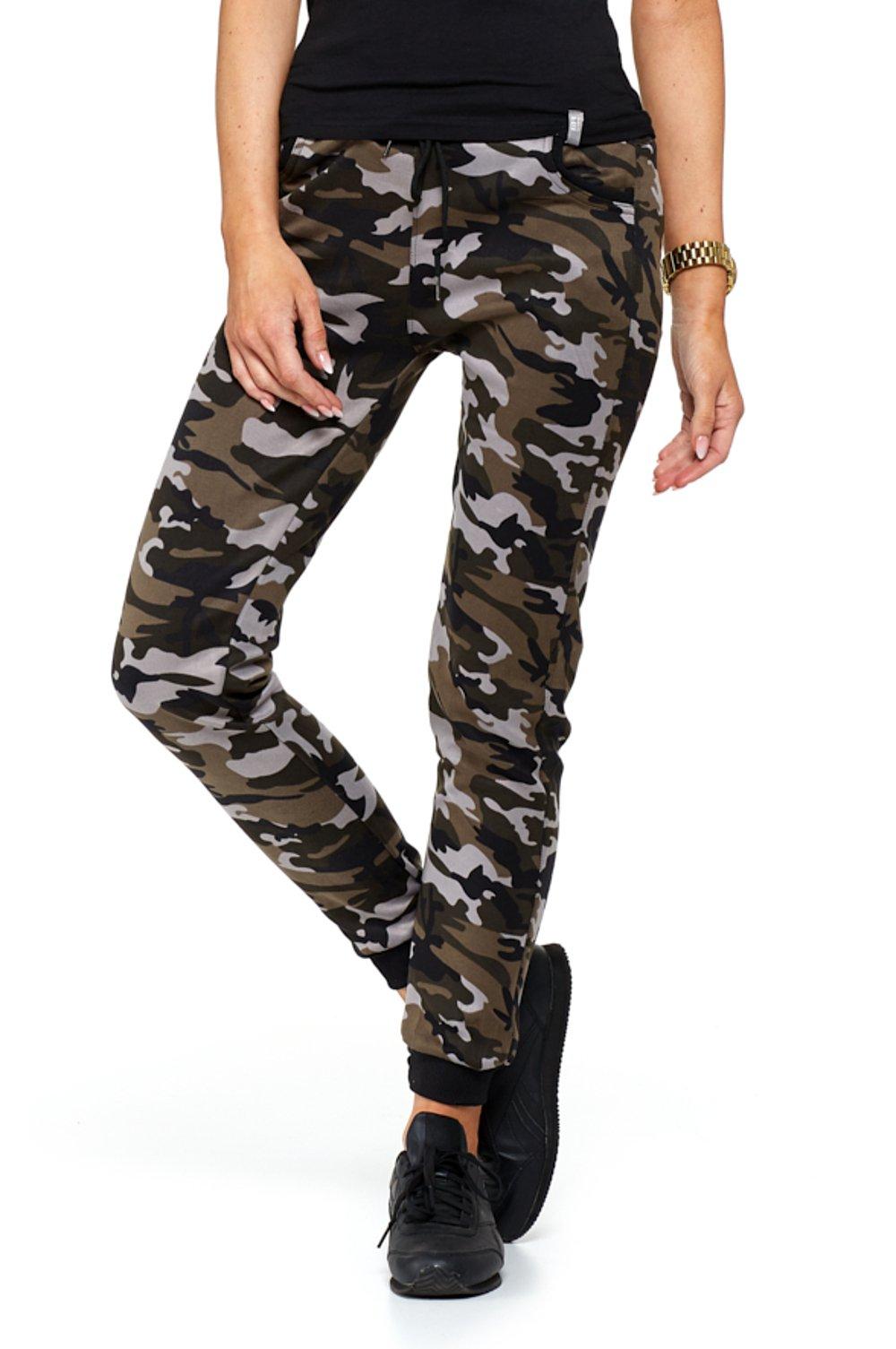Spodnie damskie dresowe MORO elastyczne brąz ML