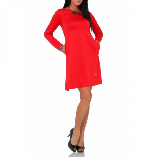 Sukienka rozkloszowana ST/VK 1290 czerwona